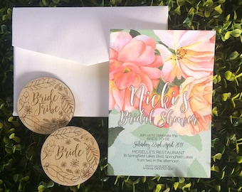Bridal Shower Invitation and Badge Set - 5 Pack of Invitations and badges.