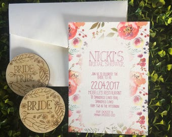 Rustic Bridal Shower Invitation and Badge Set - 5 Pack of Invitations and badges.