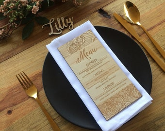 Wooden Menu, Laser cut wood menus. Vintage lace