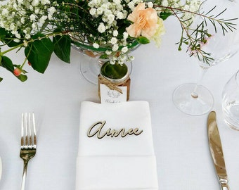 Place cards- Wood etched guest names - place settings - rustic