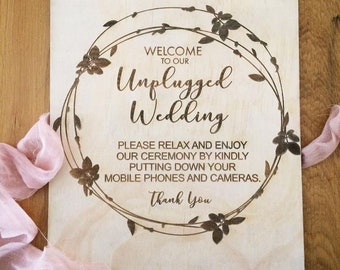 Unplugged Wedding Sign. Laser engraved wood wedding signs