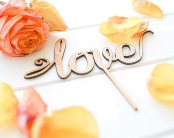 Love Cake Topper - Wedding or Engagement Cake topper.