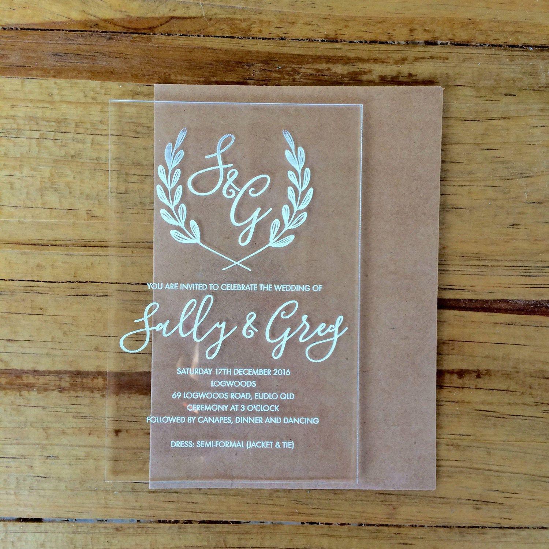 acrylic invitations laser engraved acrylic stationery generic sample