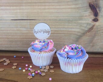 Cup cake toppers. Hooray cake topper. Hip Hip Hooray -  SET OF 6