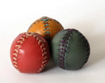 Set of  three leather juggling balls 45mm(approx). Red, blue and yellow. Juggling balls. Leather balls. Handmade. Learn to juggle