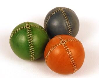 Set of 3 leather juggling balls, 75mm diameter, Juggling set, Orange, Green, Blue, Juggling balls. Games, Learn to juggling, Juggler, Circus