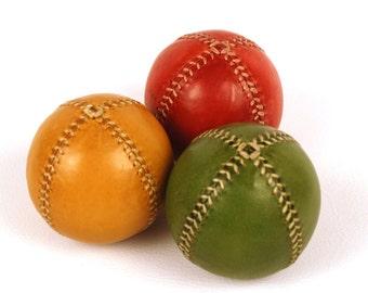 Juggling Balls, 75mm, for Jugglers, Set 3 leather juggling balls, Juggling set, , Leather Balls, Rastafari balls