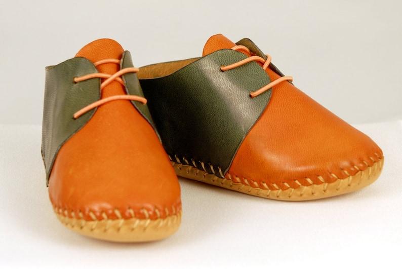 Baby shoes Orange-blue shoes Baby Moccasins Leather image 0