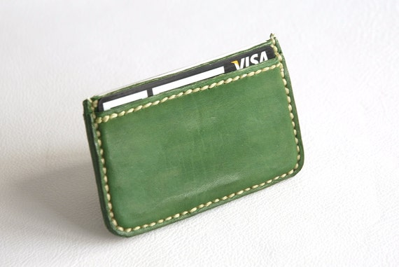 Green business card holder leather card holder card holder etsy image 0 colourmoves
