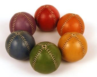 Set 6 Leather Juggling Balls, Rainbow Leather Juggling Balls 75mm , Leather balls, Juggling balls, Juggling Set, Juggler Gift, Handmade ball