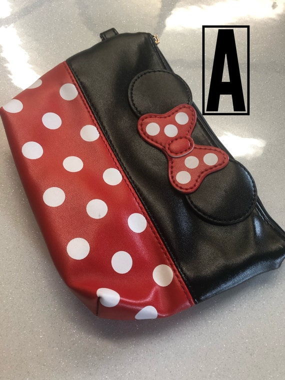 70207684917 4 different color ways of Minnie Mouse inspired zippered bag.