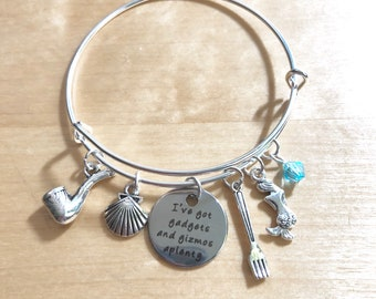 Bangle charm bracelet Ariel Little Mermaid inspired-FE gift- DCL Gadgets and Gizmos