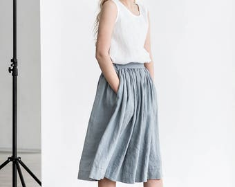 """Linen skirt """"1950s CITY"""" with deep pockets / A - line washed linen skirt in light elephant grey / Midi linen skirt / High waist linen skirt"""