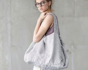 Linen tote bag in Small Checks / linen beach bag / linen shopping bag