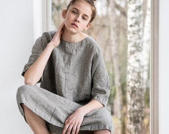 Tunic - dress SEUL in MIDI length / Washed linen KIMONO tunic in stripes / Oversize washed linen dress