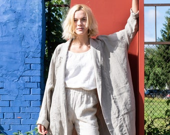 Oversized linen coat - cardigan VICTORIA