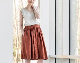 Linen skirt '1950s CITY' / with deep pockets / A - washed linen skirt in natural color / Midi linen skirt / High waist linen skirt