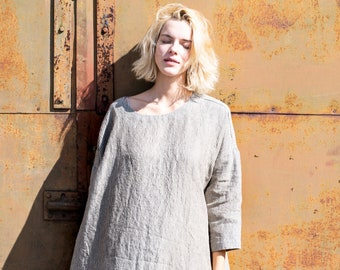 Linen dress with DROP SHOULDER long sleeves / in amber yellow / Oversized loose fitting / Washed linen tunic