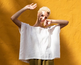 Square linen top FLORENCE