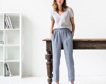 Linen pants GENOVA with elastic waistband / Washed women linen trousers / linen pants available in 34 colors