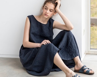 Smock linen dress in Maxi length / Maxi washed linen summer dress / Charcoal sleeveless linen summer dress / Washed long linen dress