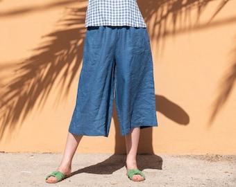 R: Linen palazzo pants YORK in MIDI length