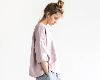 Kimono linen top OLD LONDON in round neck / Oversized linen top with drop shoulder sleeves / available in 34 colors