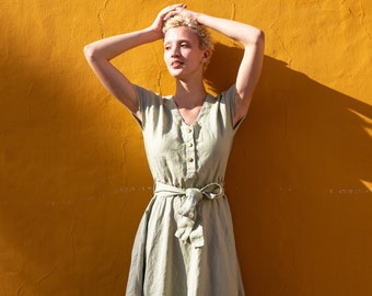Linen dress SYDNEY with front snaps / Midi length linen dress available in all colors