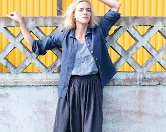 Linen skirt '1950s CITY' / with deep pockets / A - line washed linen skirt in charcoal / Midi linen skirt / High waist linen skirt
