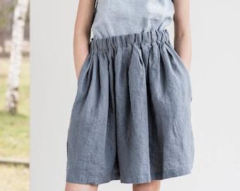 Comfortable linen skirt with wide elastic waistband