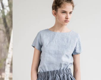 Linen tee HAMBURG / Fitted linen tee in round neck / available in 34 colors