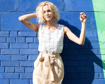 Pleated - front linen skirt REGINA