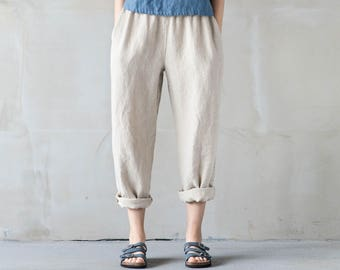 Natural loose linen pants / Washed women linen trousers / Slightly tapered linen pants available in 34 colors