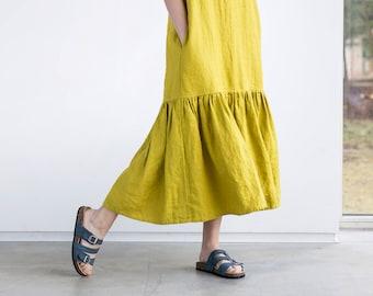 Drop ruffle maxi linen dress / Washed and soft linen dress
