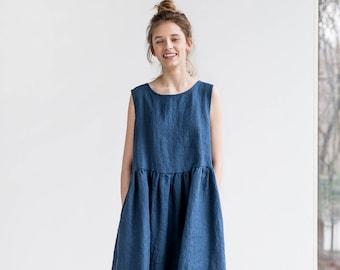 Smock linen dress in MIDI length / Loose linen sleeveless summer dress / Washed linen dress