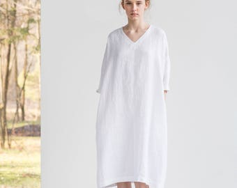 White linen tunic/dress. Washed linen kimono tunic. Oversize linen dress. V neckline linen dress