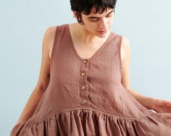 Linen smock dress with front snaps VOLUME - 2  / Oversized linen dress
