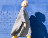 Linen dress RENNES with drop shoulder long sleeves Oversized loose fitting Washed linen tunic