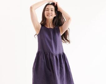 Smock linen dress in MIDI length / Swedish blue  linen loose dress