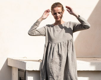 Linen loose dress EMILIE with long sleeves in MAXI length / Washed and soft linen dress / Maxi linen dress