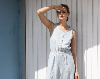 b350cf9fa756 Linen front button jumpsuit PALMA   Washed linen overall   Linen romper  available in 34 colors