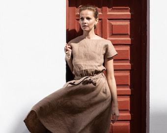 7aaa81a139e6 Linen dress ADELAIDE in midi length   Midi length linen dress available in  all colors