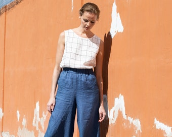 Linen culottes WELS in MAXI length / wide leg WELS maxi pants / Linen culottes / maxi skirt-pants available in all colors