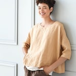 Linen top OLD LONDON / Round neck / Oversized linen top with drop shoulder sleeves / available in 34 colors