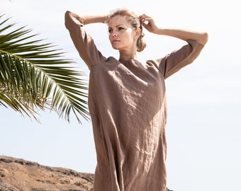 Linen dress JANUARY / Washed linen tunic / available in 41 colors