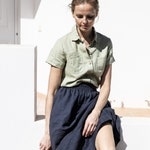 Linen  skirt SION / A - line washed linen skirt  / Midi linen skirt available in 38 colors