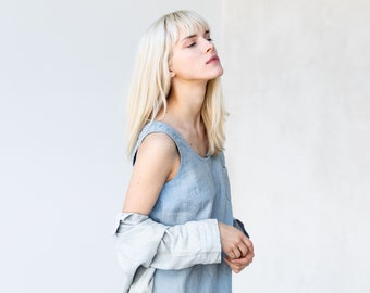 Linen dress SICILY / basic linen dress