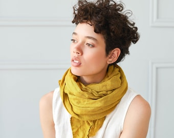 Washed linen scarf / Softened linen scarves in 10 colors / READY TO SHIP