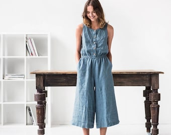 Linen front button jumpsuit PALMA / Washed linen overall / Linen romper available in 34 colors