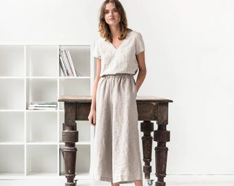 Linen wide leg LYON MAXI pants / Linen culottes / MAXI skirt -  pants available in 34 colors